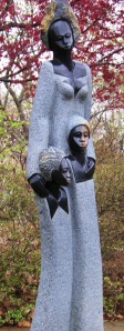 African Mother and Children Statue